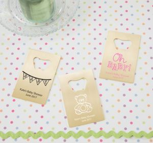 Personalized Baby Shower Credit Card Bottle Openers - Gold (Printed Metal) (Purple, Cute As A Button)