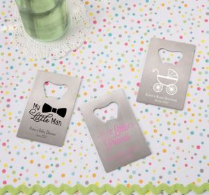 Personalized Baby Shower Credit Card Bottle Openers - Silver (Printed Metal) (Robin's Egg Blue, Sweet As Can Bee Script)