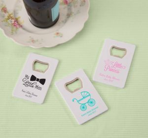 Personalized Baby Shower Credit Card Bottle Openers - White (Printed Plastic) (Robin's Egg Blue, It's A Girl Banner)