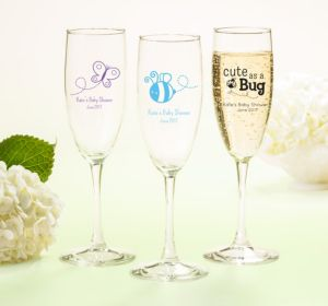 Personalized Baby Shower Champagne Flutes (Printed Glass) (Pink, My Little Man - Bowtie)