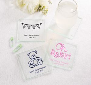 Personalized Baby Shower Glass Coasters, Set of 12 (Printed Glass) (Gold, Pram)