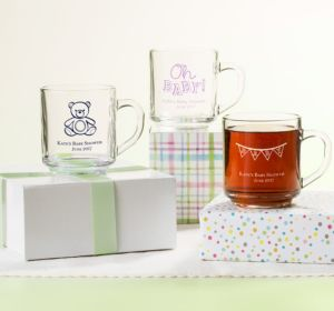Personalized Baby Shower Glass Coffee Mugs (Printed Glass) (Robin's Egg Blue, It's A Boy Banner)