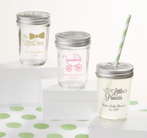 Personalized Baby Shower Mason Jars with Daisy Lids, Set of 12 (Printed Glass) (Robin's Egg Blue, Elephant)