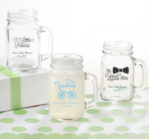 Personalized Baby Shower Mason Jar Mugs (Printed Glass) (Gold, Pram)