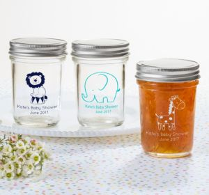 Personalized Baby Shower Mason Jars with Solid Lids (Printed Glass) (Red, Baby Bunting)