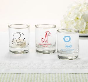Personalized Baby Shower Shot Glasses (Printed Glass) (Bright Pink, King of the Jungle)