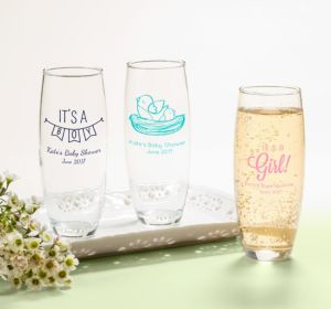 Personalized Baby Shower Stemless Champagne Flutes (Printed Glass) (Bright Pink, It's A Girl Banner)
