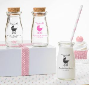 Personalized Baby Shower Glass Milk Bottles with Corks (Printed Glass) (Black, Tiny Bundle)