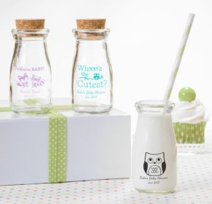 Personalized Baby Shower Glass Milk Bottles with Corks (Printed Glass) (Lavender, Woodland)