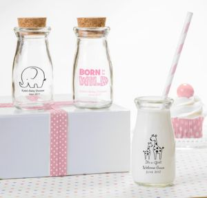 Personalized Baby Shower Glass Milk Bottles with Corks (Printed Glass) (White, Pink Safari)