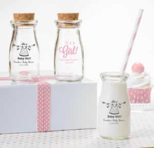 Personalized Baby Shower Glass Milk Bottles with Corks (Printed Glass) (White, Shower Love Girl)