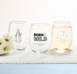 Personalized Baby Shower Stemless Wine Glasses 15oz (Printed Glass) (Black, Blue Safari)