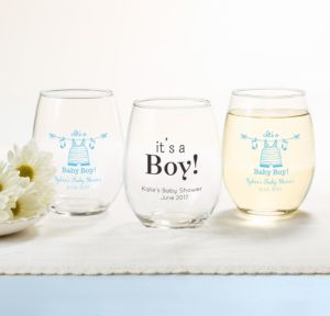 Personalized Baby Shower Stemless Wine Glasses 15oz (Printed Glass) (Black, Shower Love Boy)