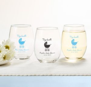 Personalized Baby Shower Stemless Wine Glasses 15oz (Printed Glass) (Pink, Tiny Bundle)