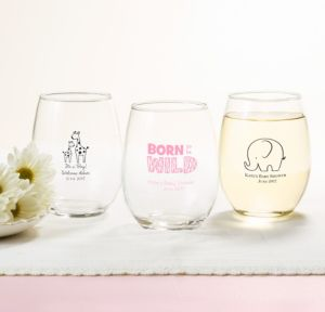Personalized Baby Shower Stemless Wine Glasses 15oz (Printed Glass) (White, Pink Safari)