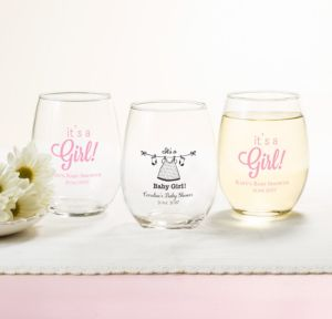 Personalized Baby Shower Stemless Wine Glasses 15oz (Printed Glass) (White, Shower Love Girl)