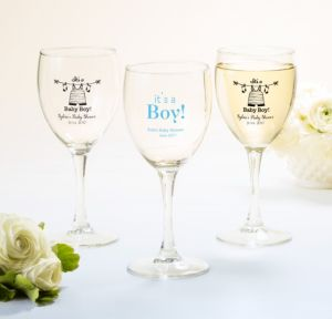 Personalized Baby Shower Wine Glasses (Printed Glass) (Black, Shower Love Boy)