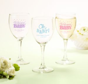 Personalized Baby Shower Wine Glasses (Printed Glass) (Sky Blue, Baby Brights)