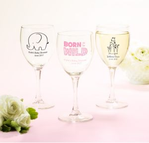 Personalized Baby Shower Wine Glasses (Printed Glass) (White, Pink Safari)