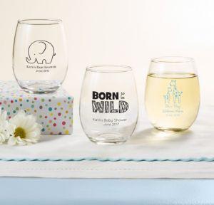 Personalized Baby Shower Stemless Wine Glasses 9oz (Printed Glass) (Black, Blue Safari)