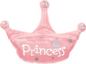 Happy Birthday Balloon - Princess Crown