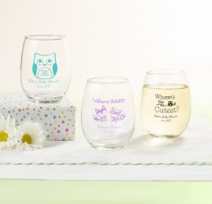 Personalized Baby Shower Stemless Wine Glasses 9oz (Printed Glass) (Robin's Egg Blue, Woodland)