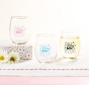 Personalized Baby Shower Stemless Wine Glasses 9oz (Printed Glass) (Sky Blue, Gender Reveal)