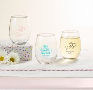 Personalized Baby Shower Stemless Wine Glasses 9oz (Printed Glass) (White, Welcome Girl)