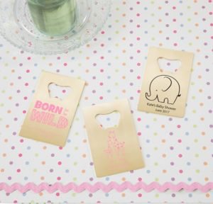Personalized Baby Shower Credit Card Bottle Openers - Gold (Printed Metal) (Bright Pink, Pink Safari)