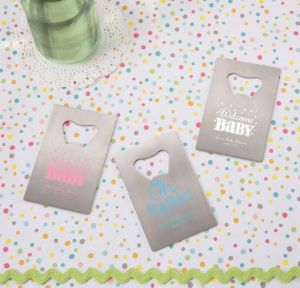 Personalized Baby Shower Credit Card Bottle Openers - Silver (Printed Metal) (Black, Baby Brights)
