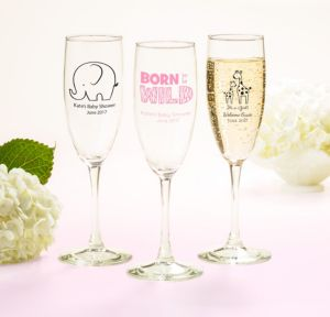 Personalized Baby Shower Champagne Flutes (Printed Glass) (Black, Pink Safari)