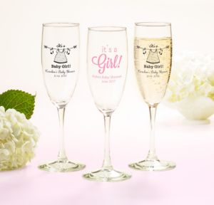 Personalized Baby Shower Champagne Flutes (Printed Glass) (Black, Shower Love Girl)