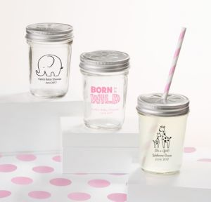 Personalized Baby Shower Mason Jars with Daisy Lids, Set of 12 (Printed Glass) (Black, Pink Safari)