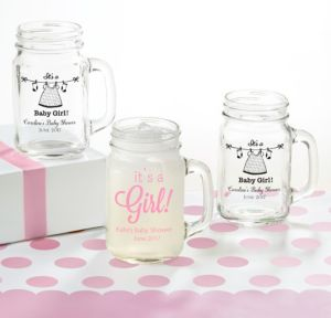 Personalized Baby Shower Mason Jar Mugs (Printed Glass) (Black, Shower Love Girl)