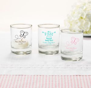 Personalized Baby Shower Shot Glasses (Printed Glass) (Black, Welcome Girl)