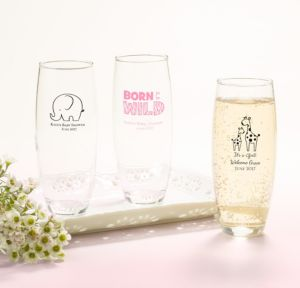 Personalized Baby Shower Stemless Champagne Flutes (Printed Glass) (Black, Pink Safari)