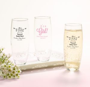 Personalized Baby Shower Stemless Champagne Flutes (Printed Glass) (Black, Shower Love Girl)