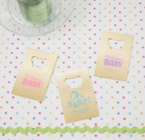 Personalized Baby Shower Credit Card Bottle Openers - Gold (Printed Metal) (Lavender, Baby Brights)