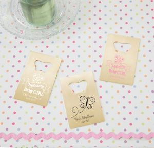 Personalized Baby Shower Credit Card Bottle Openers - Gold (Printed Metal) (Pink, Welcome Girl)