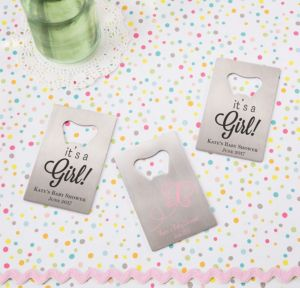 Personalized Baby Shower Credit Card Bottle Openers - Silver (Printed Metal) (Pink, Welcome Girl)