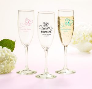 Personalized Baby Shower Champagne Flutes (Printed Glass) (Pink, Welcome Girl)