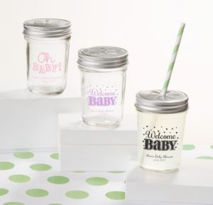 Personalized Baby Shower Mason Jars with Daisy Lids, Set of 12 (Printed Glass) (Pink, Baby Brights)
