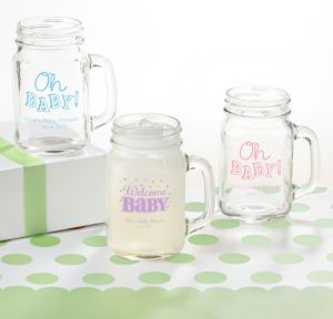 Personalized Baby Shower Mason Jar Mugs (Printed Glass) (Pink, Baby Brights)