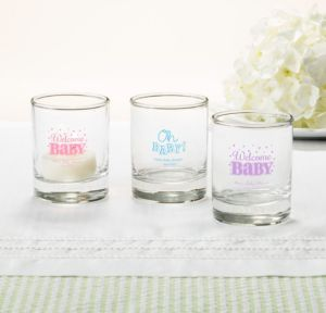 Personalized Baby Shower Shot Glasses (Printed Glass) (Pink, Baby Brights)