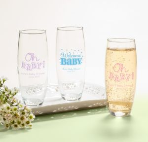 Personalized Baby Shower Stemless Champagne Flutes (Printed Glass) (Pink, Baby Brights)