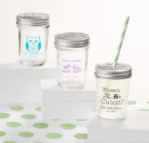 Personalized Baby Shower Mason Jars with Daisy Lids, Set of 12 (Printed Glass) (Robin's Egg Blue, Woodland)