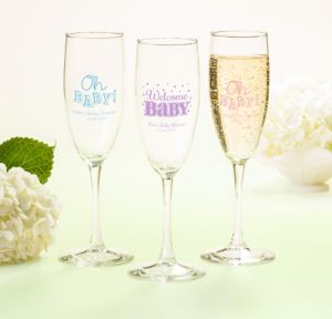 Personalized Baby Shower Champagne Flutes (Printed Glass) (Sky Blue, Baby Brights)