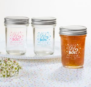 Personalized Baby Shower Mason Jars with Solid Lids (Printed Glass) (Sky Blue, Gender Reveal)
