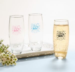 Personalized Baby Shower Stemless Champagne Flutes (Printed Glass) (Sky Blue, Gender Reveal)