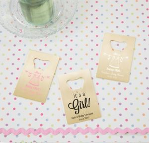 Personalized Baby Shower Credit Card Bottle Openers - Gold (Printed Metal) (White, Shower Love Girl)